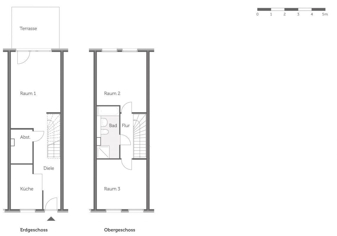 Grundriss des Haustyps 1 der neuen Einfamilienhäuser in Falkenberg