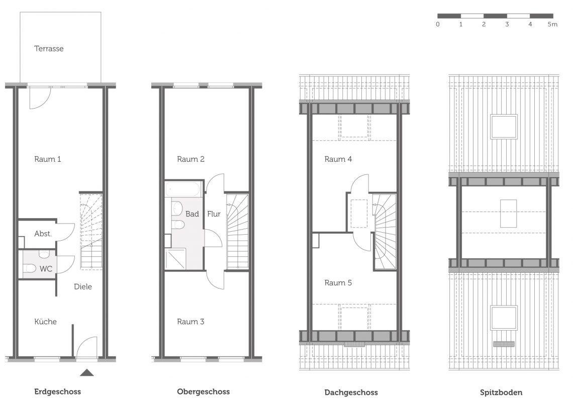 Grundriss des Haustyps 2 der neuen Einfamilienhäuser in Falkenberg