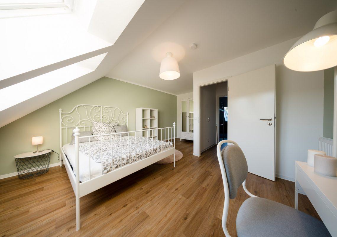 Schlafzimmer in einem Musterhaus