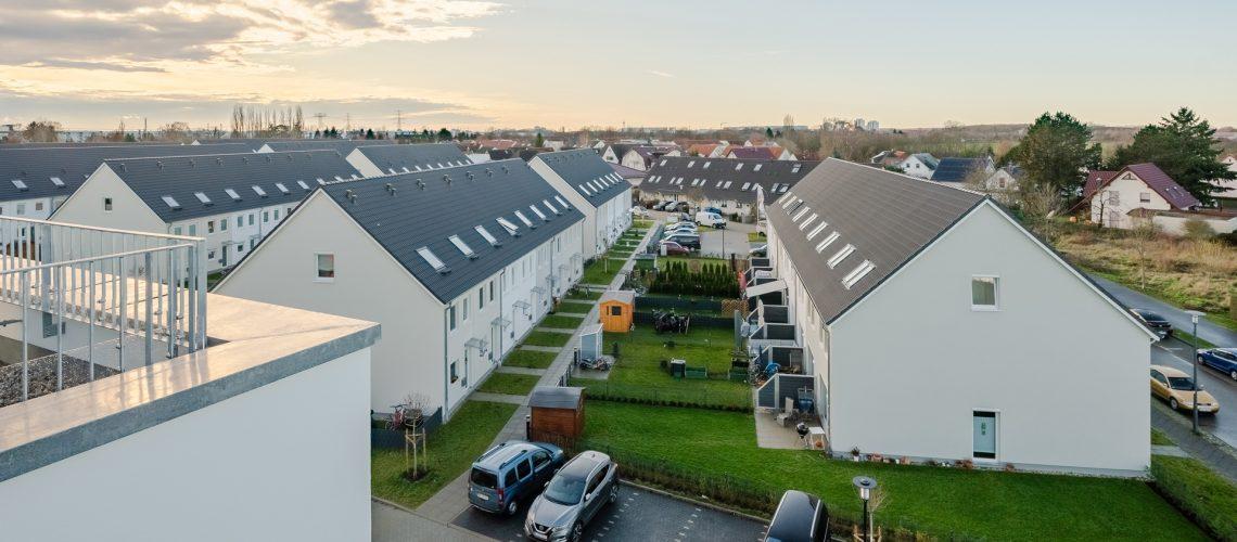 Reihenhäuser im neuen Stadtteil in Falkenberge