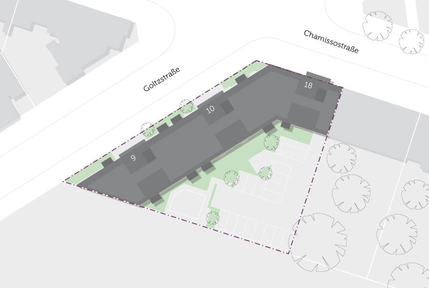 Die Lage der Wohnbauten im Stadtteil auf einer Karte abgebildet.