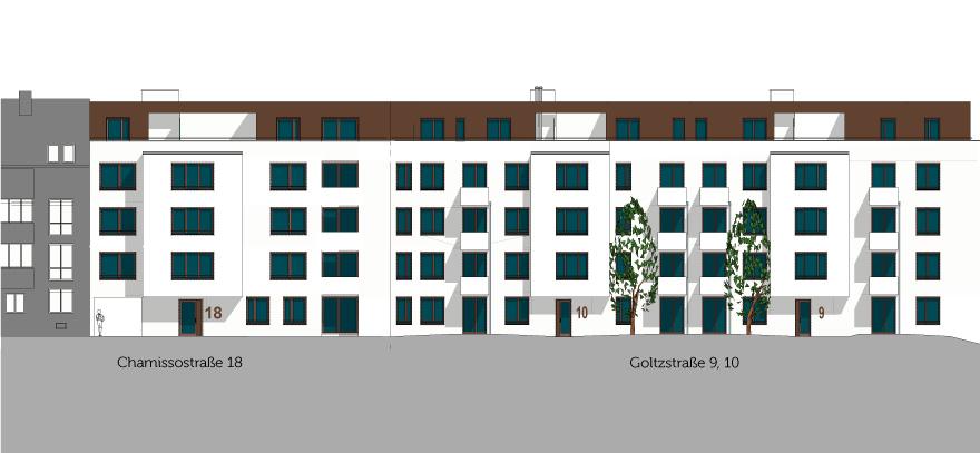 Eine Skizze der Häuser in der Chamissostraße 18 und Goltzstraße 9 & 10.