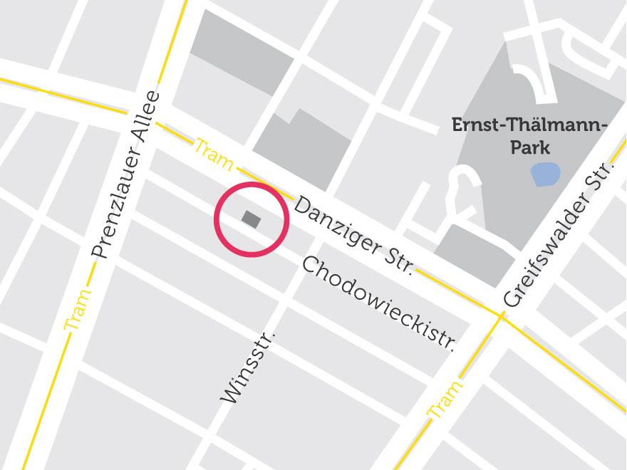 Lage des Gebäudes auf einer Karte abgebildet. in der Nähe befindet sich die Danziger Straße.
