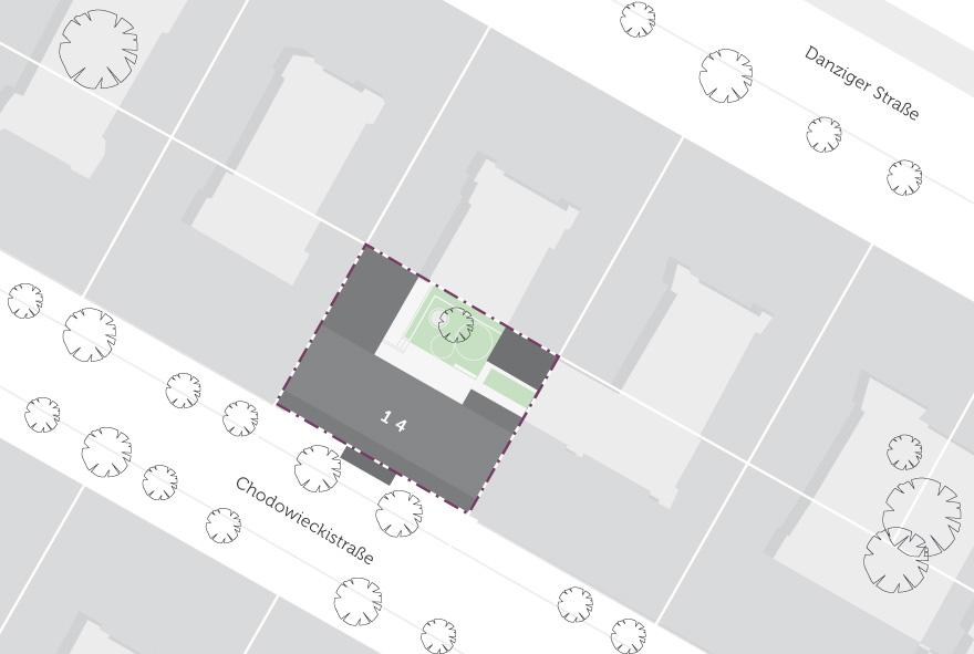 Lage des Gebäudes im Stadtteil auf einer Karte abgebildet. in der Nähe befindet sich die Danziger Straße.