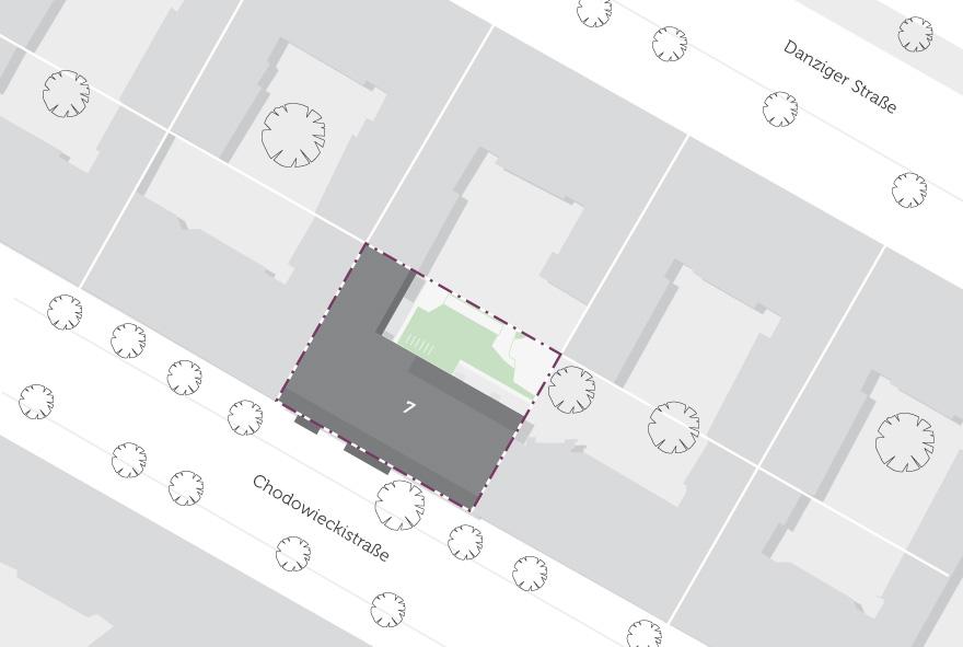 Die Lage des Neubaus im Stadtteil auf einer Karte abgebildet.