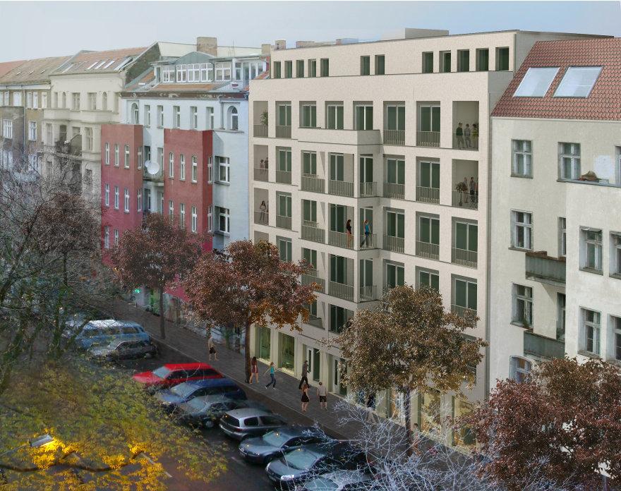 Ein Rendering aus der Planungsphase des Gebäudes in der Chodowieckistraße 14.