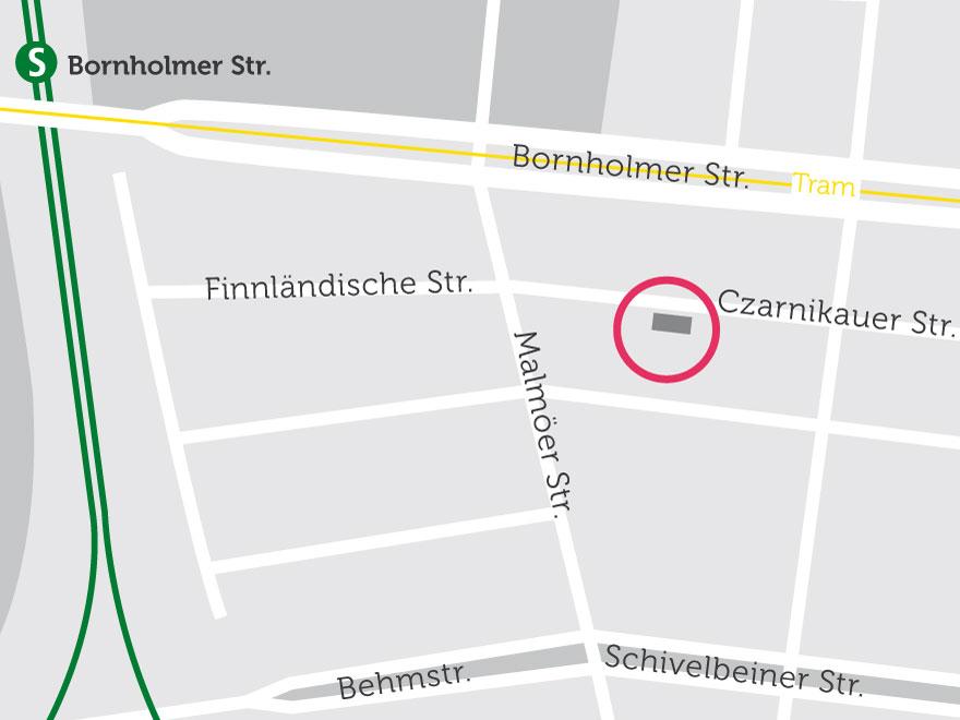 Die Lage des Wohn- und Geschäftshauses in Prenzlauer Berg auf einer Karte dargestellt.