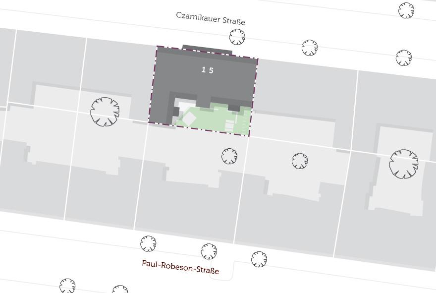 Die Lage des Wohn- und Geschäftshauses im Stadtteil in Prenzlauer Berg auf einer Karte dargestellt.