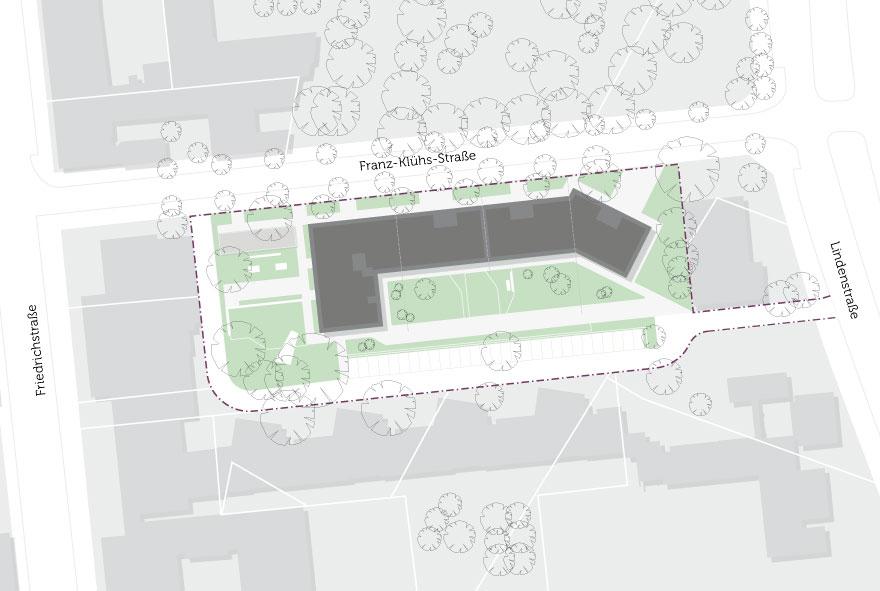 Grundriss des Neubaus an der Franz-Klühs-Straße