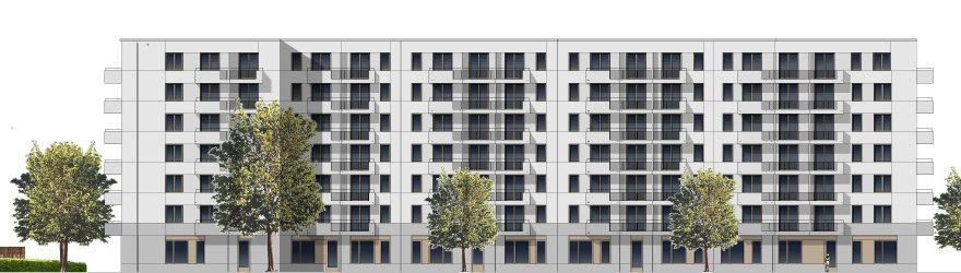 Ansicht der Fassade im Süden des Neubaus in der Franz-Klühs-Straße