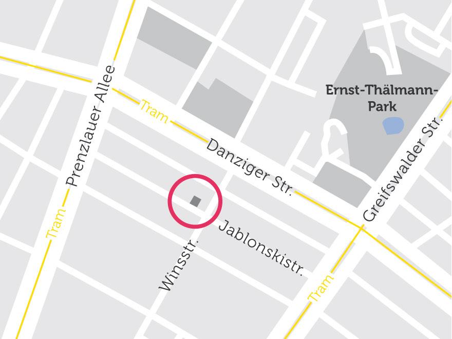 Der Neubau in der Jablonskistraße auf einer Karte eingezeichnet