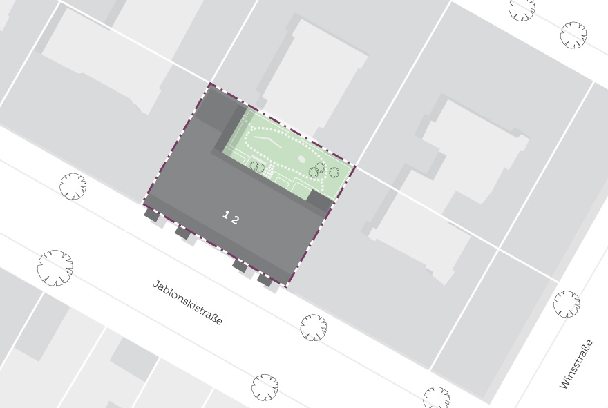 Lageplan vom Neubau in der Jablonskistraße in Prenzlauer Berg