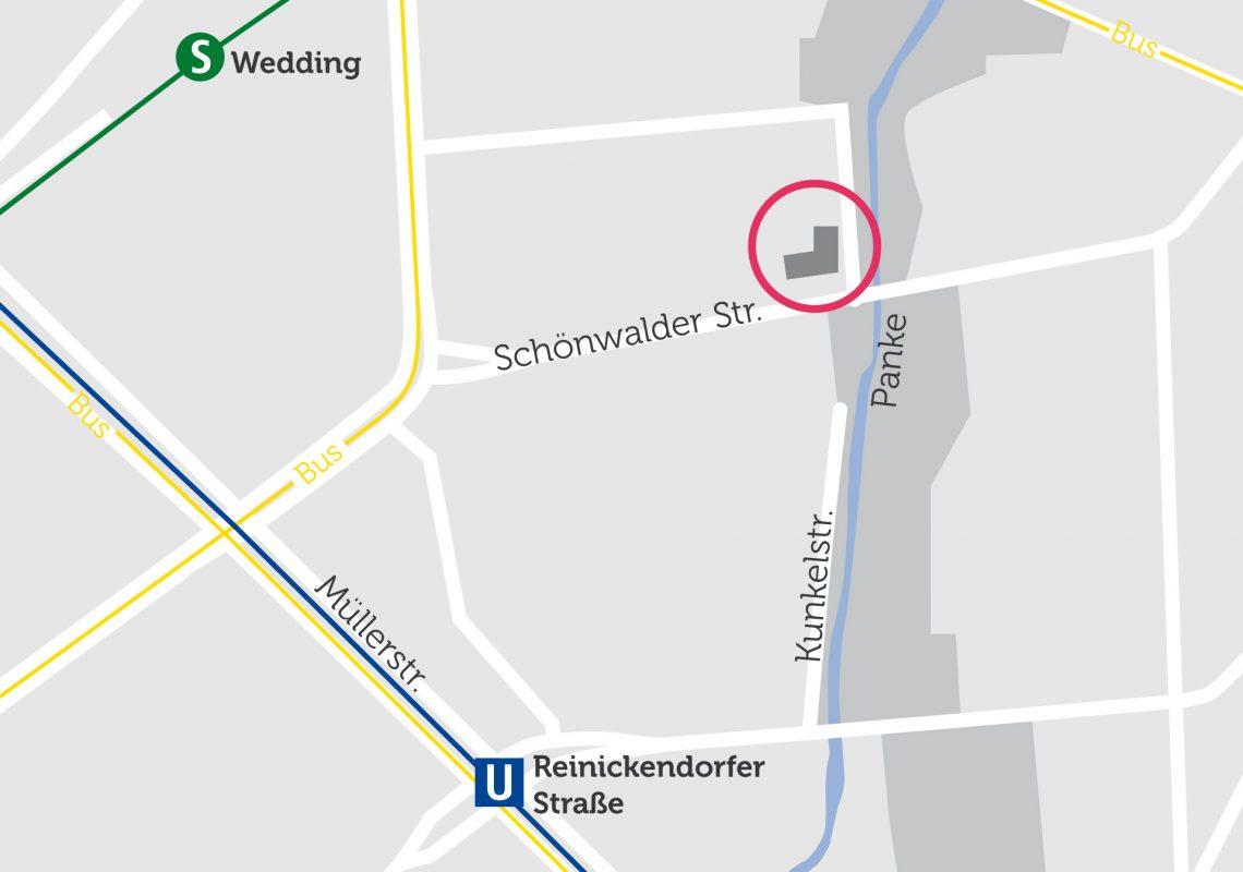 Ansicht des Gebäudes auf einer Karte. In der Nähe befindet sich der S-Bahnhof Wedding.