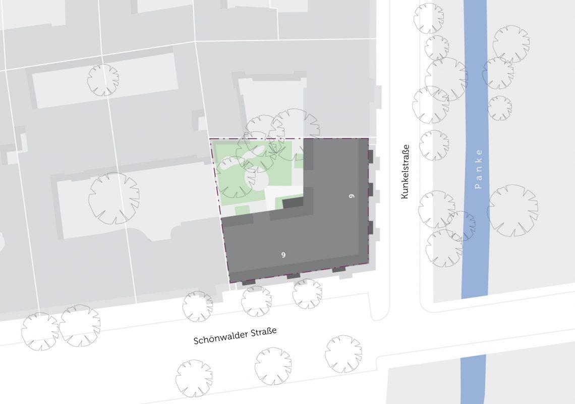 Lage des Gebäudes im Stadtteil auf einer Karte.