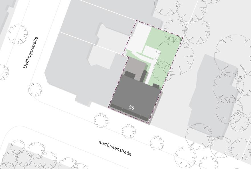 Lageplan vom Neubau in der Kurfürstenstraße