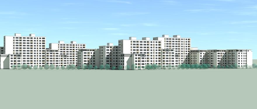 3D-Modell des Wohnparks Mariendorf aus einer seitlichen Ansicht.