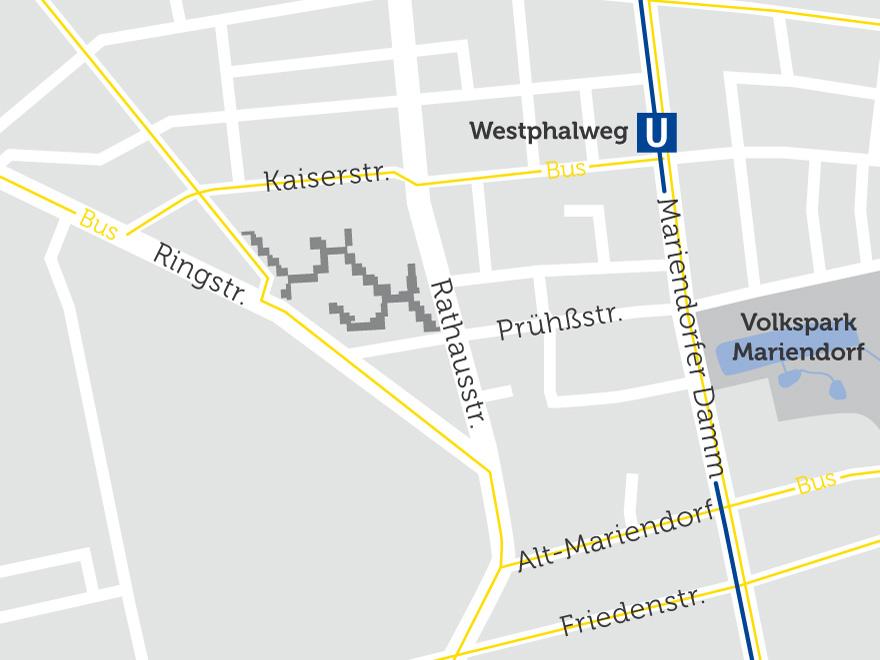 Die Lage des Wohnparks auf einer Karte visualisiert. In der Nähe befindet sich der U-Bahnhof