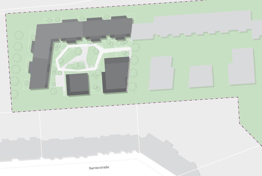 Lageplan der neuen Wohngebäude mit Mietwohnungen am Mauerpark