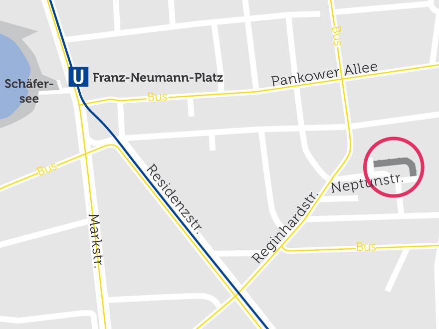Neubau in der Neptunstraße in Reinickendorf auf einer Karte