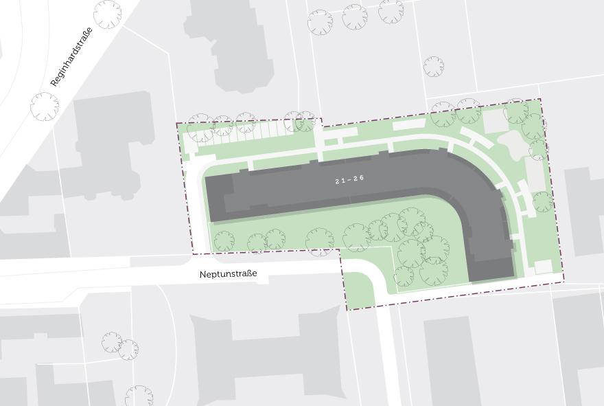 Grundstücksplan vom Neubau in der Neptunstraße in Reinickendorf