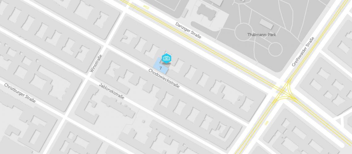 Karte mit BHKW für Quartierstrom in Chodowieckistraße 7
