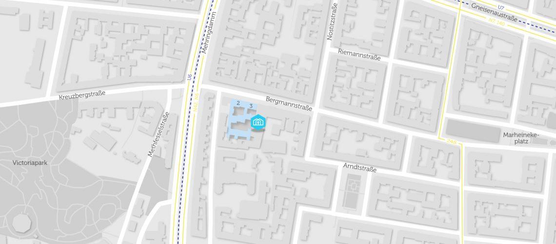 Karte mit BHKW in Bergmannstraße