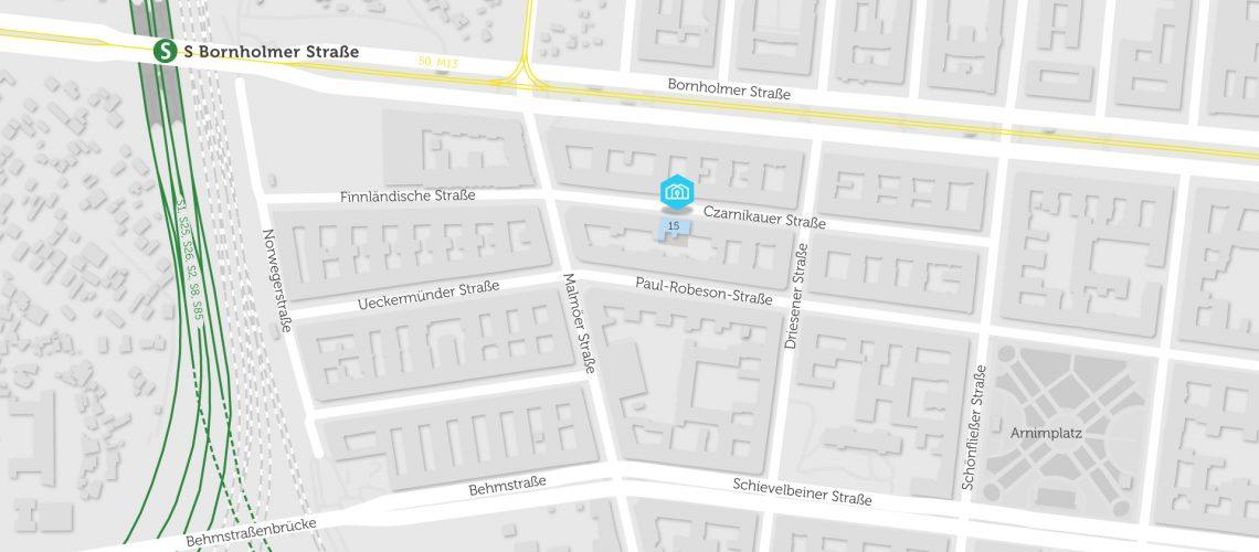 Karte mit BHKW für Quartierstrom in Czarnikauer Straße 15