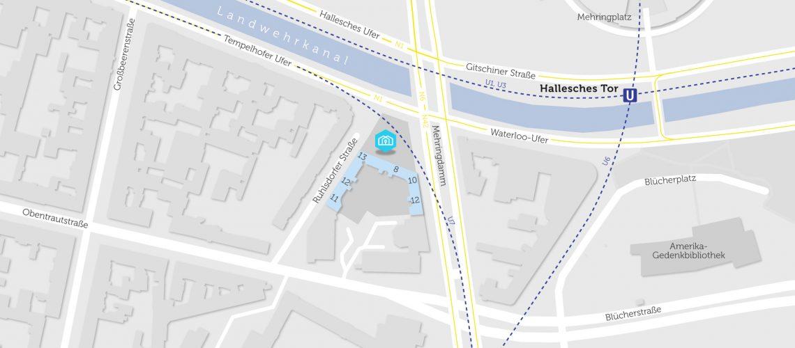 Karte mit BHKW im Mehringdamm in Kreuzberg
