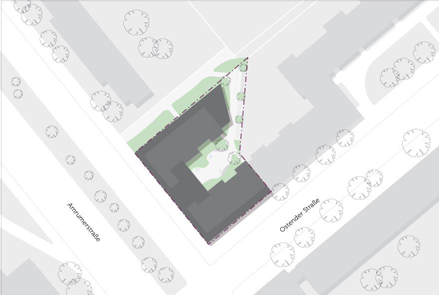 Detaillierte Skizze der neuen Studentenwohnungen im Süden der Amrumer Straße