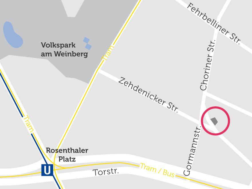 Lage des Gebäudes auf einer Karte visualisiert. In der Nähe befindet sich der U-Bahnhof Rosenthaler Platz.