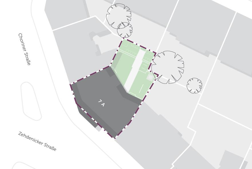 Die Lage des Gebäudes im Stadtteil auf einer Karte.