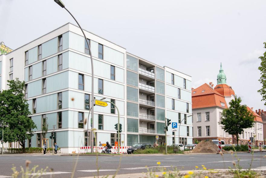 Fassade vom Neubau der Studentenwohnungen in der Amrumer Straße