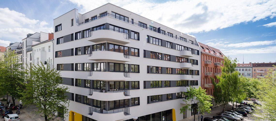 Fassade des Neubaus der Gewobag in der Bernhard-Lichtenberg-Straße 4 A