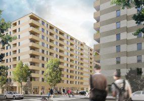 Visualisierung des Neubauprojekts der Gewobag in der Dolgenseestraße
