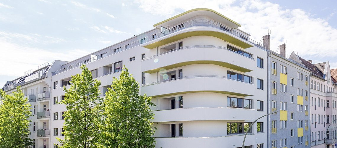 Fassade des Neubauprojekts der Gewobag in der Gubitzstraße