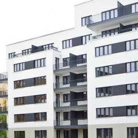 Fassade vom Neubau der Gewobag am Mauerpark