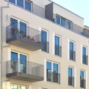 Fassade des Neubaus der Gewobag in der Schliemannstraße 23 A