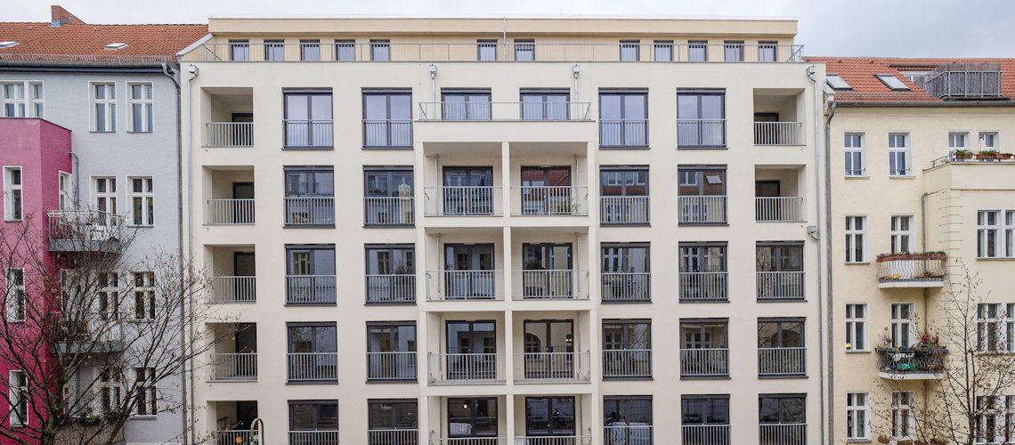 Fassade des Neubauprojekts der Gewobag in der Chodowieckistraße 14