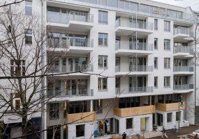 Fassade des Neubauprojekts der Gewobag in der Chodowieckistraße
