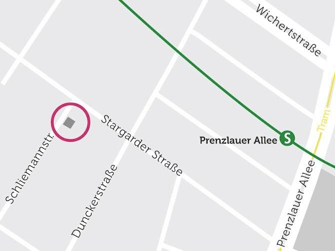 Die Lage des Gebäudes auf einer Karte dargestellt. In der Nähe befindet sich der S-Bahnhof Prenzlauer Allee
