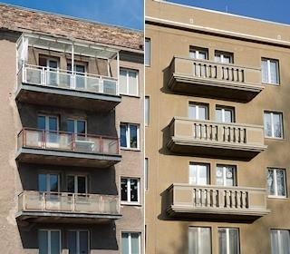 Balkone vor und nach der Sanierung