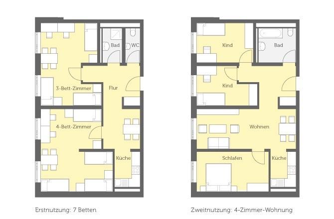 Grundriss der Wohneinheiten in der Unterkunft für Geflüchtete in Spandau