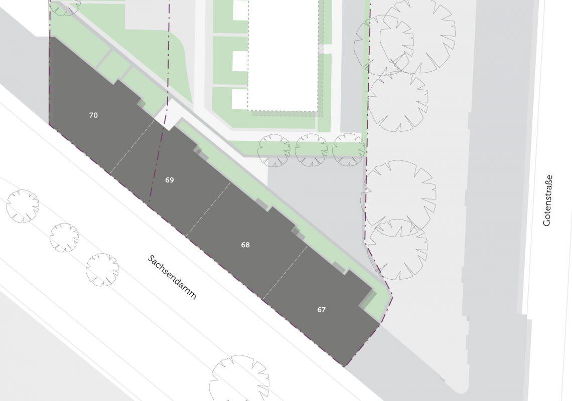Lage der Gebäude in Schöneberg auf einer Karte. In der Nähe befindet sich der Bahnhof Schöneberg.