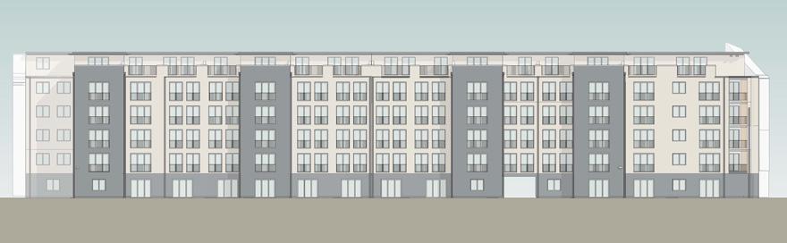 Skizze der Gebäude im Sachsendamm 67-70. Süd-Ansicht.