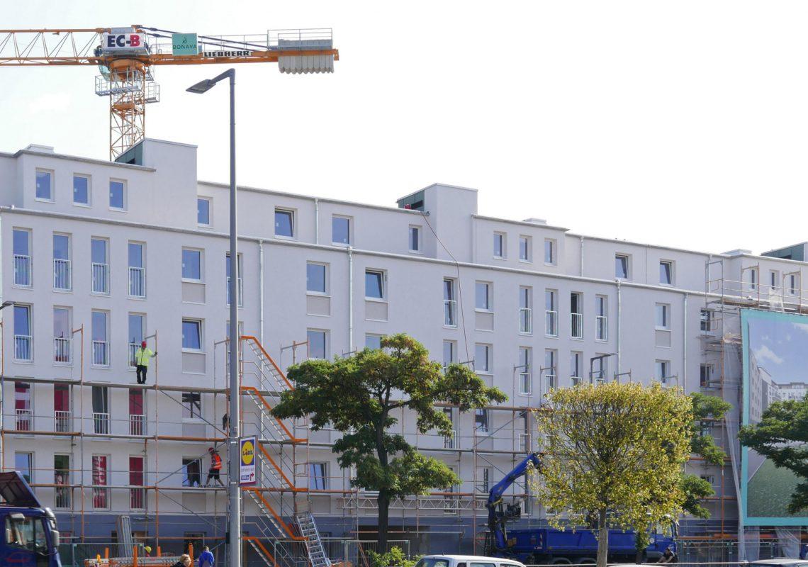Die Gebäude im Sachsendamm 67-70 im Bau