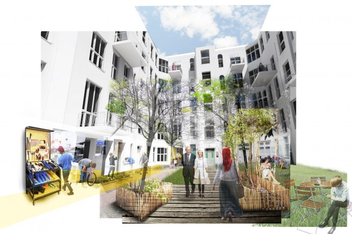 Visueller Entwurf für den neu gestalteten Innenhof von WÜRSCHINGER Architekten GmbH für die Umgestaltung des Hauses in der Bülowstraße 90.