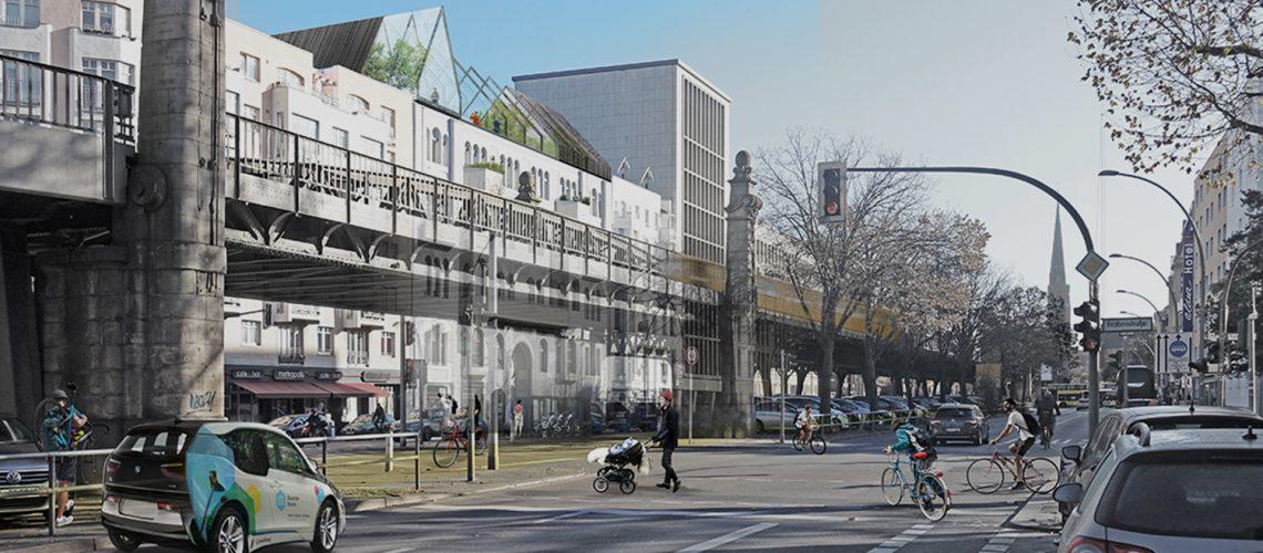 Visueller Entwurf des Architekturbüros WÜRSCHINGER Architekten GmbH für die Umgestaltung des Hauses in der Bülowstraße 90.