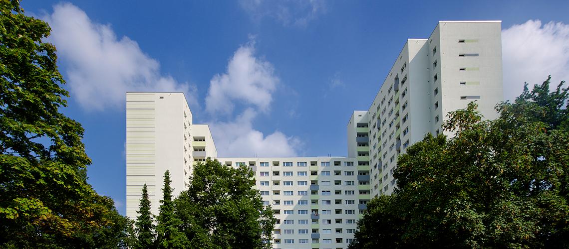 Wohnblock nach energetischer Sanierung
