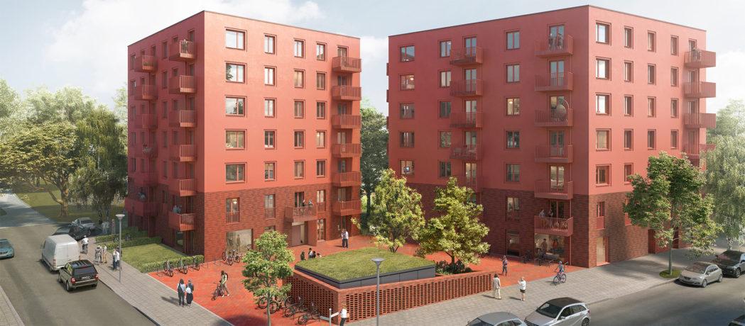 Visualisierung des Neubauprojekts der Gewobag in der Hugo-Cassirer-Straße / Sigmund-Bergmann-Straße