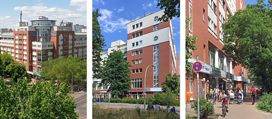 3 Bilder zeigen das City Point Center, ein Wohn- und Geschäftshaus am Roederplatz, aus verschiedenen Perspektiven.